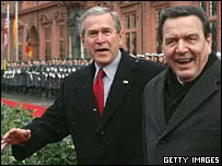 President Bush and German Chancellor Gerhard Schroeder