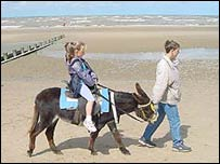 Picture of child on donkey at Rhyl