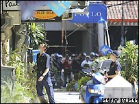 Australian Federal Police (AFP) investigate the bomb site at Raja's restaurant in Kuta, after the Bali suicide terror attacks, on October 3, 2005 in Bali, Indonesia.