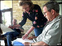 Harriet Miers and President George W Bush in Texas in 2001