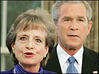 Harriet Miers and President George Bush