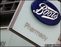 Logo on the front of a Boots store