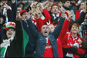 Welsh fans celebrate their team's win