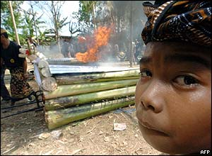 A child looks as ritual rites are performed on the coffin of Ibusti Sudana