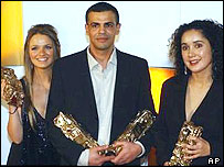 Abdellatif Kechiche (centre), with star Sara Forestier (left) and screenwriter Ghalya Lacroix