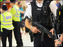 Armed patrols in Victoria Station