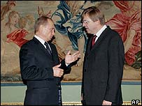 Vladimir Putin (left) and Guy Verhofstadt