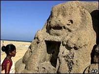 A granite lion uncovered by the tsunami