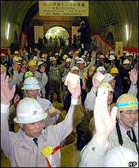 Japanese engineers celebrate blasting of tunnel