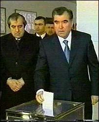 Tajik President Emomali Rakhmonov votes in the election
