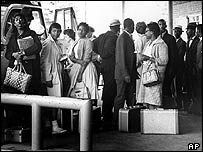 Black people testing desegregation at an Alabama bus stop in 1961