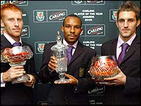 Player of the Year Danny Gabbidon (centre) with James Collins and Sam Ricketts