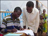 A Burundian registers to vote