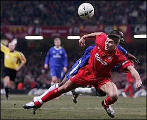 Liverpool's Steven Gerrard under pressure