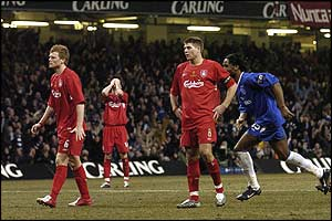 Liverpool players react to Steven Gerrard's own goal