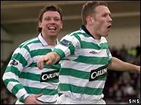 Craig Bellamy celebrates his first Celtic goal
