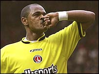 Shaun Bartlett celebrates his win for Charlton