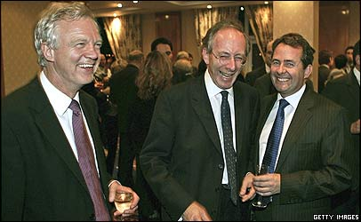 David Davis, left, Sir Malcolm Rifkind, centre, and Liam Fox, right