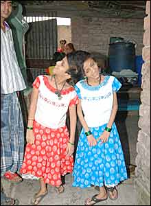 Saba, left and Farah at home in Patna (Picture by Prashant Ravi)