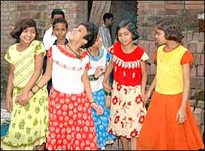 Saba, left and Farah with friends outside their home in Patna (Picture by Prashant Ravi)