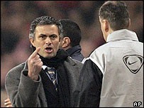 Jose Mourinho argues with the fourth official after his sending-off