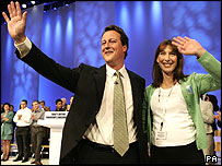 David Cameron, with wife Samantha after his speech