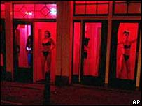 Prostitutes in Amsterdam, where brothels are legal