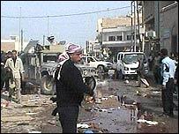 Screen grab of the scene of a car bomb in Hilla