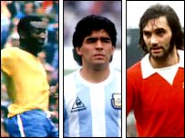 Pele, Diego Maradona and George Best