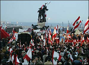 Opposition demonstrators in Beirut