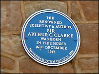 Arthur C Clarke Blue Plaque (BBC)