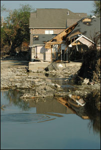 Damaged house near 17th Street Canal