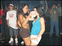 Girls dance at a reggaeton club in San Juan, Puerto Rico