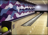 Bowling alley in the basement of Updown Court