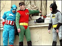 Fathers 4 Justice protesters dressed as cartoon superheroes