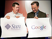 Sun Microsystems chief executive Scott McNealy, left, and Google chief executive Eric Schmidt