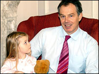 Three-year-old Elenor Williams and the prime minister