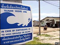 Tsunami warning sign in Thailand