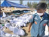 Rescue worker in tsunami-hit Thailand