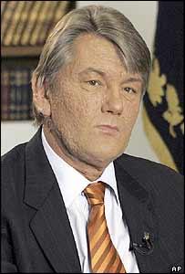 President Viktor Yushchenko during the TV interview
