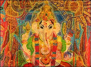 Photo of an oil painting of the Hindu god Ganesha with the head of an elephant.