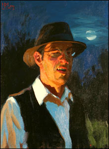Painting of a man wearing a brimmed hat and glasses with the moon behind him.