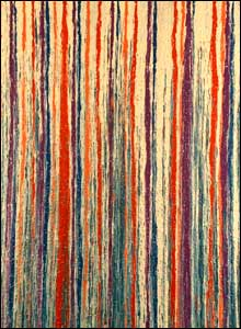 Dribbled painting of coloured stripes of red, white and blue 