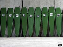 Coffins containing bodies of Srebrenica victims