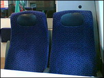 Empty seats on train