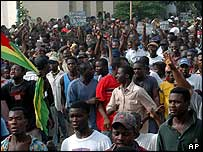 Opposition supporters on the streets of the capital Lome