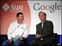 Sun Microsystems chief executive Scott McNealy and Google chief executive Eric Schmidt