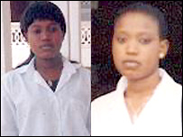A Togolese schoolgirl with long hair (l) and after her haircut (r)
