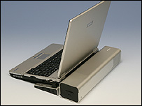 Image of Toshiba's direct methanol fuel cell laptop