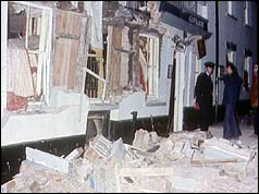 External view showing pub damage